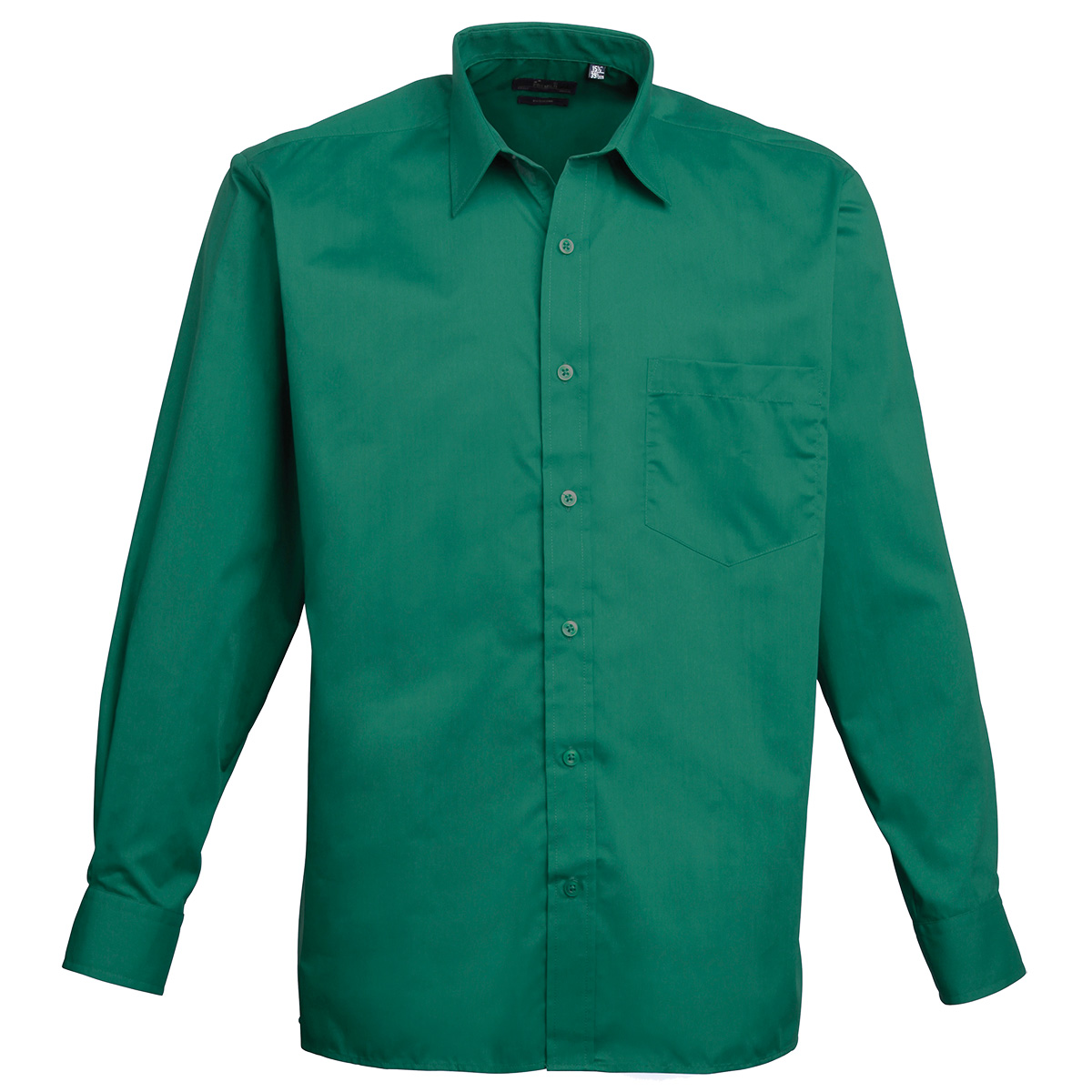 Men's Poplin Long Sleeve Shirt - Emerald Green - Chogou